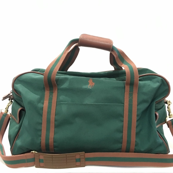 RALPH LAUREN GREEN DUFFLE BAG CANVAS STRIPE LARGE.  M 5a7bc685c9fcdfa39d1b4186 1f451ba4fc518